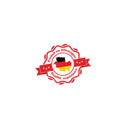 Made in Germany, Premium Quality (French language: Produit en Allemagne, Qualite Superieure) - grunge printable label  sticker  ribbon