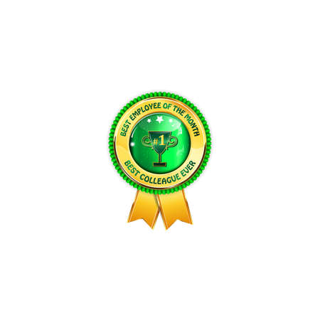 colleague: Best employee of the month. Best colleague ever - golden green ribbon award with cup Stock Photo