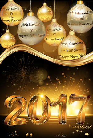 Happy New Year 2017 greeting card, card with message in many languages: English, French, Italian, German and Spanish. Contains jingle bells, and Christmas baubles Stock Photo