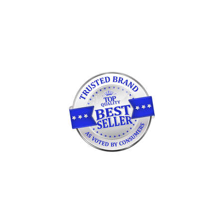 voted: Trusted brand, as voted by consumers, best seller, top quality - shiny luxurious metallic blue icon  ribbon for retailers