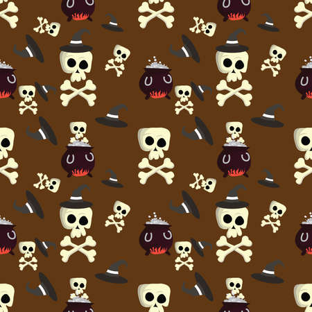 textile industry: Halloween pattern with skulls, witches hats, also for textile industry, wrapping paper. Print colors used. Stock Photo