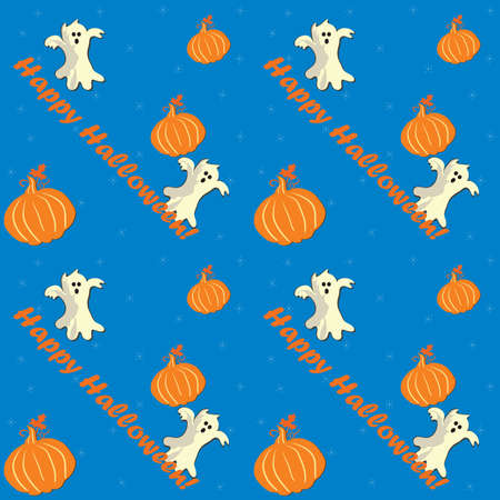 Halloween seamless pattern with cartooned ghosts and pumpkins. Print colors used Stock Photo