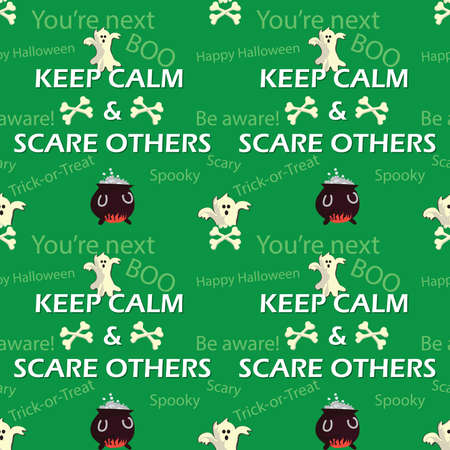 textile industry: Halloween pattern with skulls, spooks and witchess Cauldron, also for textile industry, wrapping paper. Print colors used. Stock Photo