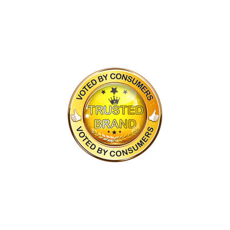 voted: Voted by Consumers. Trusted Brand - shiny golden icon  label.