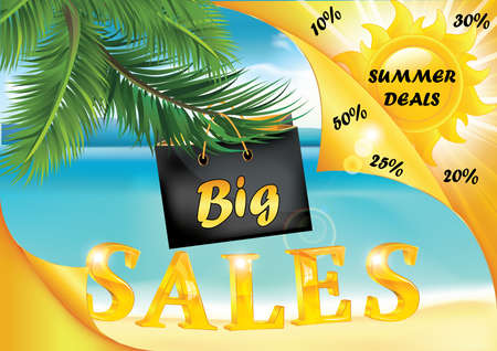 big sales: Summer big sales seaside background. Print colors used. Format A3