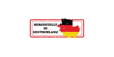 deutchland: Made in Germany (Text in German language: Hergestellt in Deutchland). printable label with German flag colors. CMYK colors used. Stock Photo