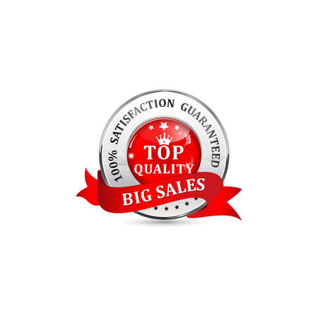big sales: Big Sales. Satisfaction guaranteed. Top Quality. Metallic red glossy shiny icon  button with ribbon. Stock Photo