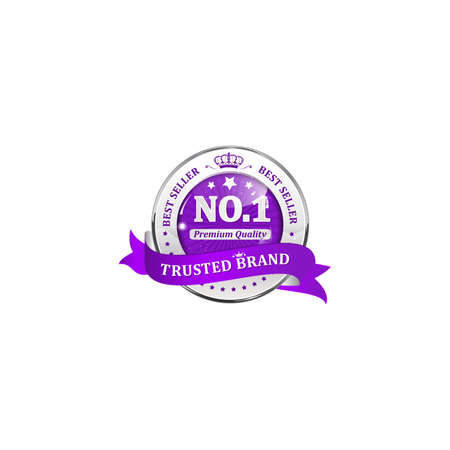 trusted: Trusted brand, Best seller, Premium Quality - shiny purple ribbon for retail business Stock Photo