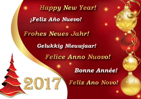 Greeting card for New Year 2017, with the wishes Happy New year in many languages: Italian, German, Dutch, Spanish, French and Portuguese.