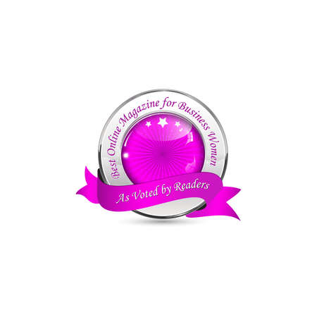 voted: Best Online Magazine for Business Women. As voted by readers. - metallic purple ribbon Stock Photo