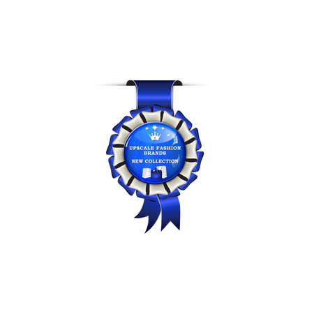 Upscale Fashion Brands. New Collection - award blue ribbon for clothes, shoes shops, boutiques.