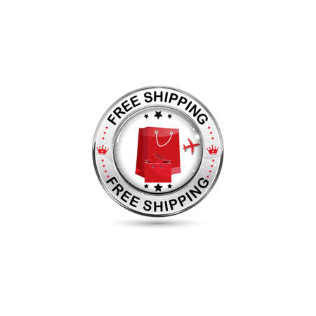 ship with gift: Free Shipping icon  button  label with red shopping bags for retail companies.