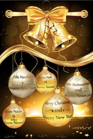 Carte de voeux pour le Nouvel An avec le message en plusieurs langues: anglais (Joyeux Noël et une Bonne Année), français, espagnol, allemand et italien. Contient jingle bells, ruban et Babioles de Noël. Banque d'images - 64186836