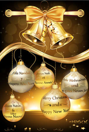Greeting card for New Year with message in many languages: English (Merry Christmas and a Happy New Year), French, Spanish, German and Italian. Contains jingle bells, ribbon and Christmas Baubles.