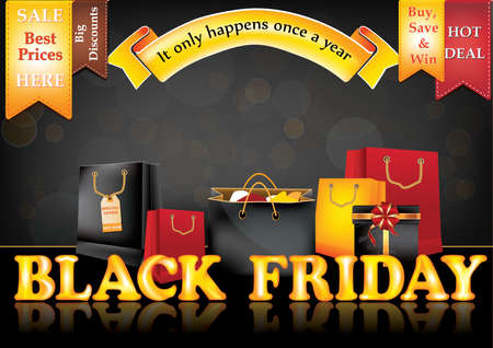 a3: Black Friday sale advertising poster, also for print. Advertising shopping poster for Black Friday. Contains different shopping bags, shopping tags (etiquette). CMYK colors used. Size A3.