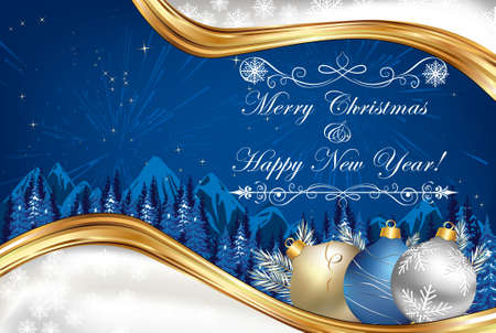 Business blue Christmas and New Year background / greeting card for print. Contains elegant snowflakes and Christmas baubles, winter landscape. Copy Space for your text.