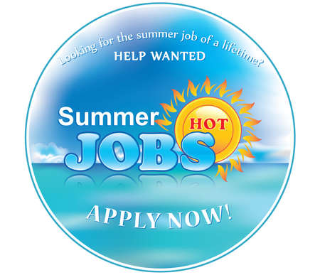 employers: Summer Jobs label for print. Sticker for companies  Employers that are looking for seasonal employees. Help Wanted. Apply Now! Print colors used.