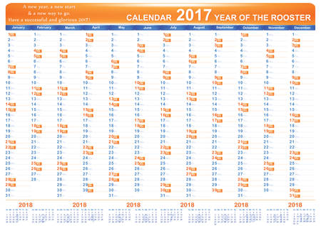 organizer: English printable Organizer (planner), Calendar 2017. The image contains the 2018 Year calendar. Format A3, Print colors used Illustration