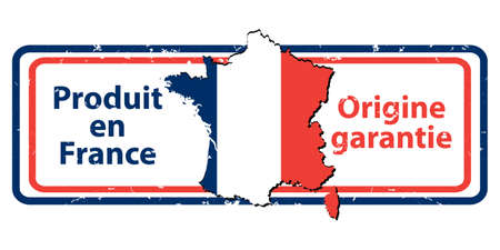 origin: Made in France, The Guarantee of Origin - grunge stamp with the map and flag of France. Print colors used