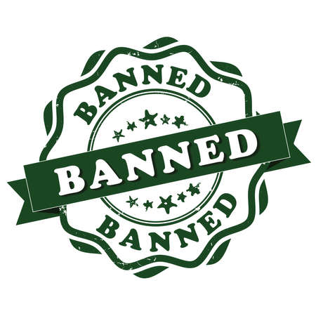 banned: Banned grunge stamp. Print colors used Stock Photo
