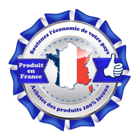 sustain: Made in France, Sustain the national economy, Buy products 100% local (French Text: soutenez leconomie de votre pays, Achetez des produis 100% locaux) - French label with the map and national flag