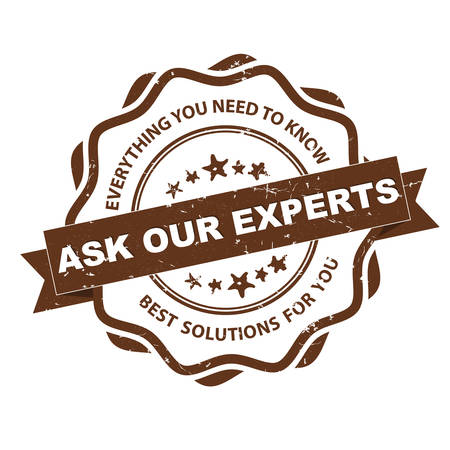best guide: Ask our experts. Everything you want to know. Best solutions for you - grunge business label  ribbon for consulting agencies. Print colors used Illustration