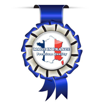 Made in France, Premium Quality - business retail blue award ribbon for commercial purposes.
