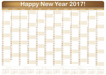 organizer: Calendar 2017 - English printable Organizer (planner) - contains the Dates highlighted, the days of the month and some space for personal notes. The image contains the 2018 Year calendar. CMYK colors.