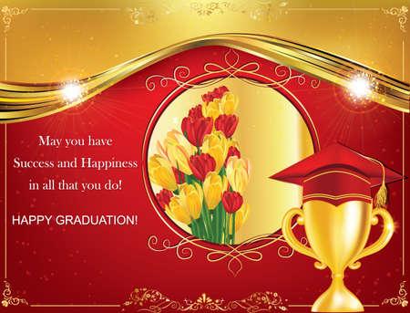 Happy Graduation greeting card. Print colors used Stock Photo - 64186646
