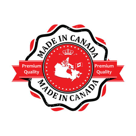 canada stamp: Made in Canada, Premium Quality - business stamp for retail industry. Contains the Canadian flag and map. Print colors used