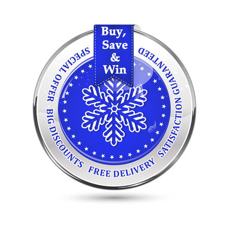 shiny icon: Winter sales blue icon with a big snowflake. Big winter sales stamp with a ribbon and a shiny icon: special offer, free delivery, satisfaction guaranteed. Buy, save and win