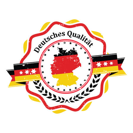 German Quality - sticker  label with German flag and map on the background. Print colors used