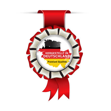 Award ribbon in German language. Translation: Made in Germany, Premium Quality (Hergestellt in Deutchland, Premium Qualitat)