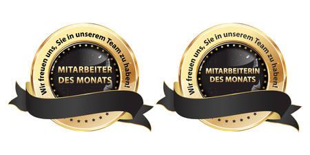 Pracownik Miesiąca, Cieszymy się, że jesteś w naszym zespole (tłumaczenie tekstu niemieckiego: Mitarbeiter / in des Monats. Wir freuen uns, Sie in unserem Team zu habben) zestaw czarnych wstążek