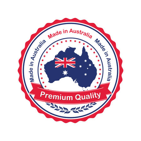 australia stamp: Premium Quality, Made in Australia- stamp  sticker with the Australian map and flag. Print colors used