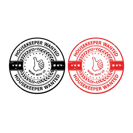 housekeeper: Housekeeper wanted - grunge set of labels  stamps  badges. Print colors used Illustration