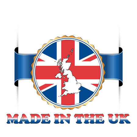 Made in the UK - ribbon with the flag and map of the United Kingdom of Great Britain