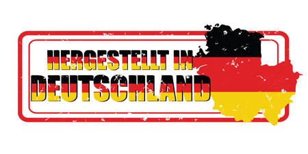 deutchland: Made in Germany (German language: Hergestellt in Deutchland) - printable label with German flag colors. CMYK colors used.