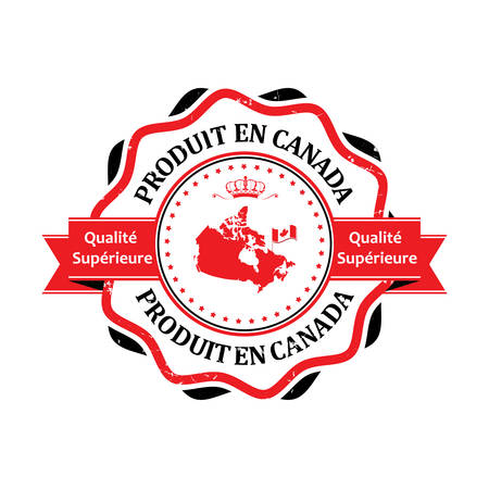 en: Made in Canada, Premium Quality (Text in French language: Produit en Canada, Qualite Superieure) grunge label containing the map and flag colors of Canada. Illustration