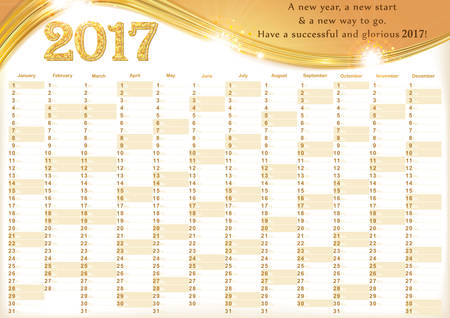 event planner: Calendar 2017 - English printable Organizer (planner) - contains the Dates highlighted, the days of the month and some space for personal notes. Print colors used