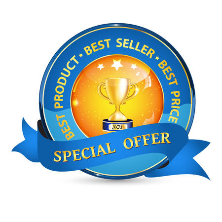 blockbuster: Special offer, best product, best seller - elegant business ribbon with champion cup