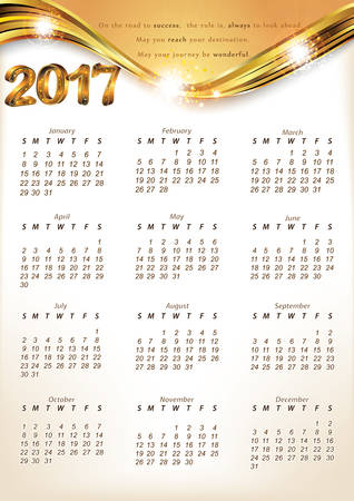 Calendar 2017 - English printable Organizer (planner). Print colors used Фото со стока - 64186467