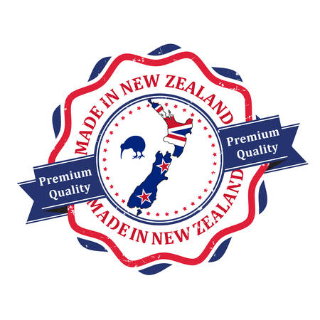 Made in New Zealand, Premium quality - stamp / label / sticker with the national map, kiwi bird and flag. Print colors used