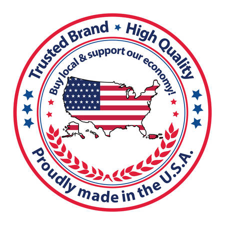 Proudly made in the USA, Trusted brand, High Quality. Buy local and support our economy. - grunge stamp / label / badge. Print colors used Ilustração