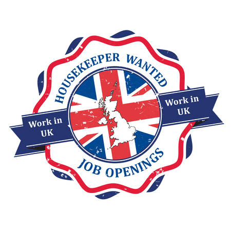 employers: Housekeeper wanted, Jobs in UK - grunge label  sticker  badge for recruitment companies  employers. Print colors used Illustration