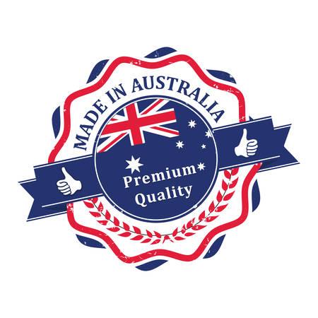 Made in Australia, Premium Quality - étiquette / timbre / badge avec la carte australienne et le drapeau en arrière-plan Banque d'images - 64186409