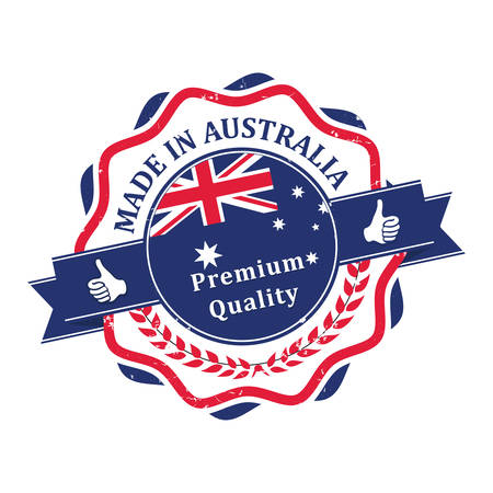 Made in Australia, Premium Quality - label / stamp / badge with the Australian map and flag on the background Ilustracja