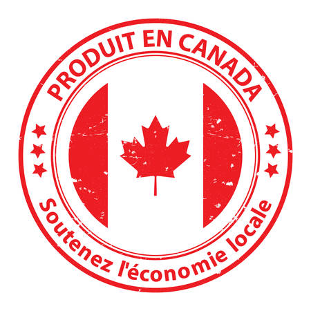 Made in Canada. Sustain the local economy (French language: Produit en Canada, Soutenez leconomie locale) - grunge stamp  label. Print colors used