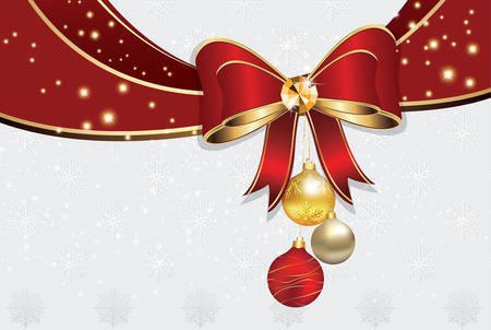 Christmas and New Year background with red ribbon and Christmas baubles. Snowflakes pattern. Print colors used Illustration