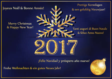 New Year Greeting card 2017 in many languages. Text translation: 'Merry Christmas and Happy New Year' in French, English, Dutch, Italian, Spanish and German language. Print colors used.